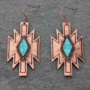 Western Aztec Fish Hook Earrings Faux Turquoise